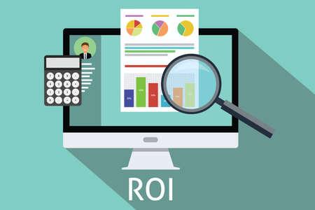 Ilustración de roi return on investment computer calculator magnifying glass - Imagen libre de derechos