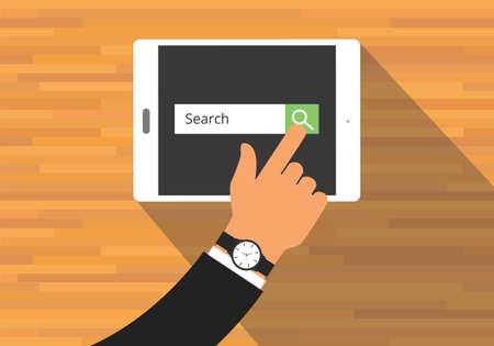Illustration pour searching concept use tab or pad mobile platform - image libre de droit