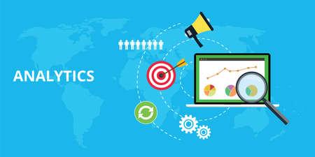 Ilustración de analytics and maintain website traffic graph and chart - Imagen libre de derechos
