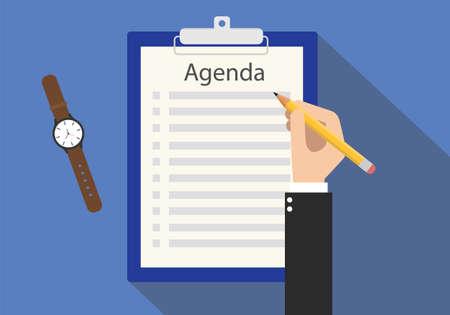 Illustration pour agenda meeting to do list on clipboard vector flat - image libre de droit