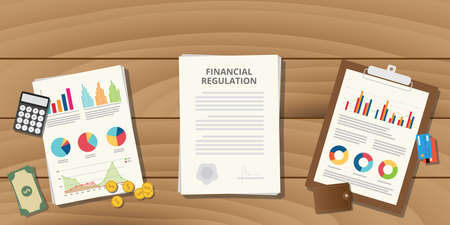 Illustration for financial regulation with paper work and graph data chart wood table - Royalty Free Image