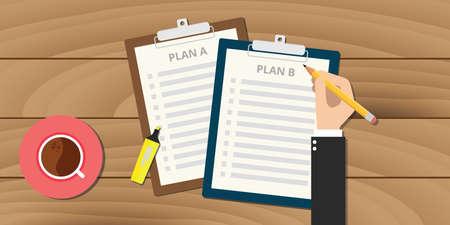 Illustration pour plan a and plan b illustration with clipboard vector - image libre de droit