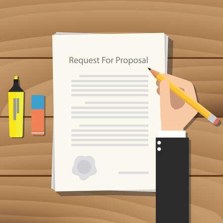 Illustration pour rfp request for proposal paper document graphic - image libre de droit