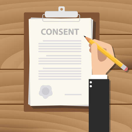 Photo pour consent information sign document paper clipboard  - image libre de droit