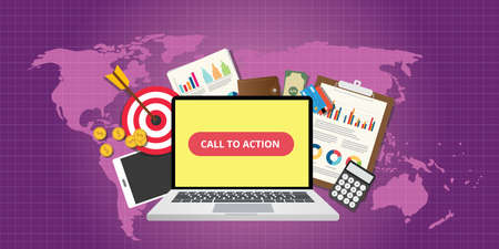 Illustration pour call to action traffic data goals graph money technology vector - image libre de droit