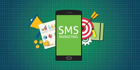 Ilustración de sms marketing mobile phone smarthphone graph data marketing money market - Imagen libre de derechos