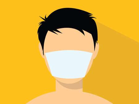 Ilustración de a man using a masker illustration with flat style vector - Imagen libre de derechos