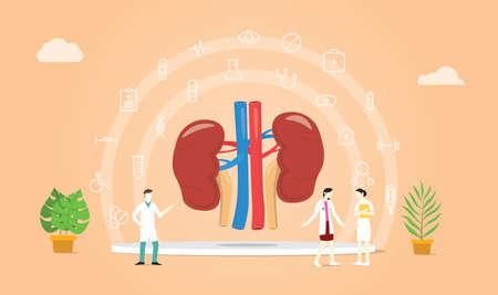 Ilustración de human kidney health with doctor team discuss and healthy icon spread with modern flat style - vector illustration - Imagen libre de derechos