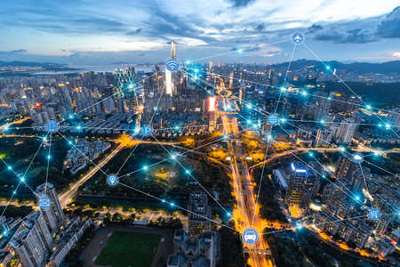 Foto de Shenzhen City Scenery and High-tech Network Concept - Imagen libre de derechos