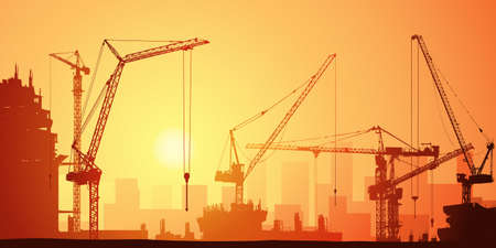Photo for Lots of Tower Cranes on Construction Site - Royalty Free Image