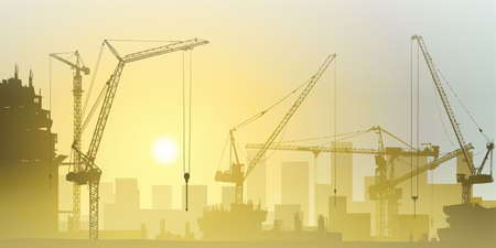 Photo pour Lots of Tower Cranes on Construction Site - image libre de droit