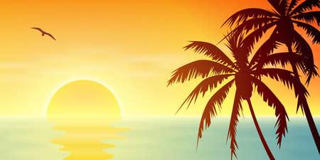 Illustration pour A Tropical Sunset, Sunrise with Palm Trees - image libre de droit