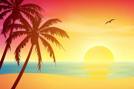 Illustration pour A Tropical Sunset, Sunrise with Palm Trees - image libre de droit