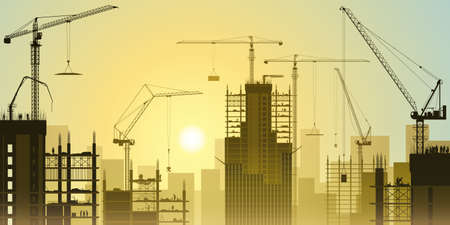 Photo pour A Construction Site with Lots of Tower Cranes and Sunset, Sunrise - image libre de droit