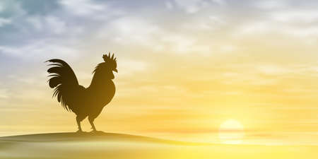 Illustration for A Misty Morning Landscape with Cockerel, Rooster. Vector  - Royalty Free Image