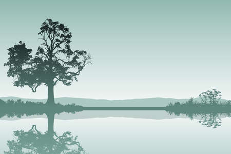 Illustration pour A Countryside Landscape with Tree and Reflection in Water - image libre de droit
