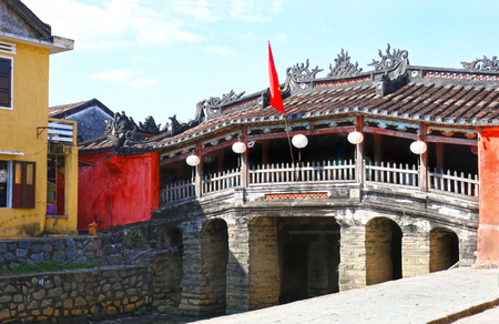 Photo for Hoian (Hoi An) Historic Japanese Covered Bridge. Built in the 18th Century with a Buddhist temple attached - Royalty Free Image