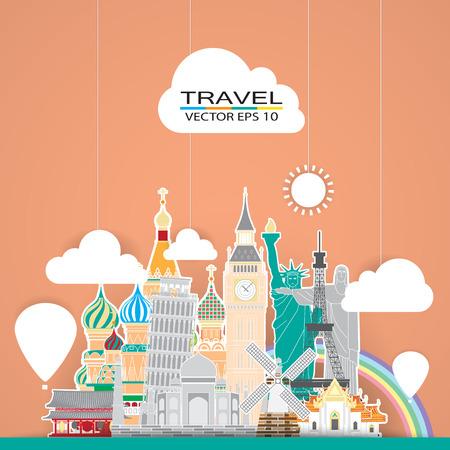 Ilustración de travel landmark background - Imagen libre de derechos