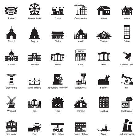 Illustration pour Buildings city icon set - image libre de droit