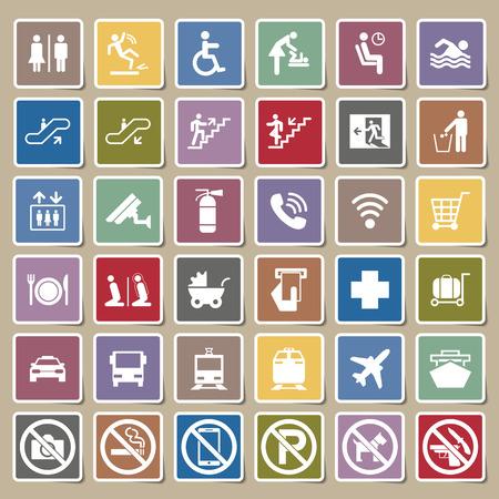 Illustration pour Public signs vector Sticker set - image libre de droit