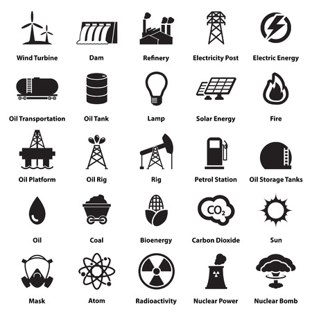 Ilustración de Energy, electricity, power icons Signs and Symbols - Imagen libre de derechos
