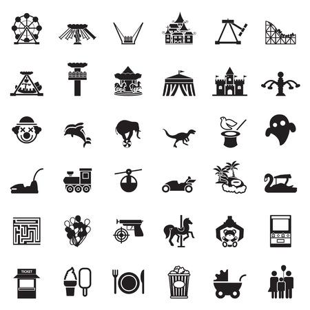 Illustration pour Theme Park and Zoo icon vector set - image libre de droit