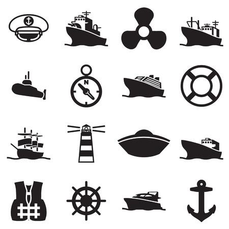 Ilustración de boat and ship symbols and icon - Imagen libre de derechos