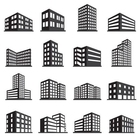 Foto de Buildings icon and office icon set - Imagen libre de derechos