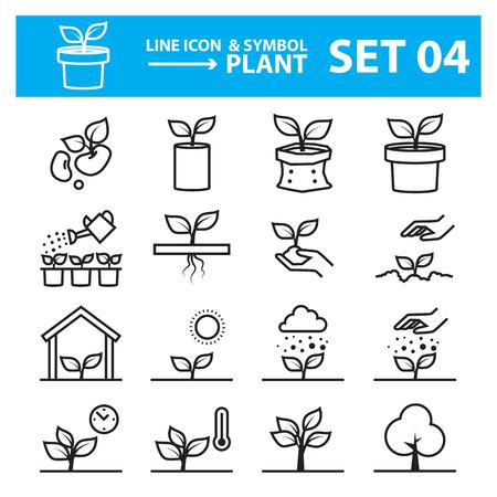 Illustration pour plant line icon set - image libre de droit