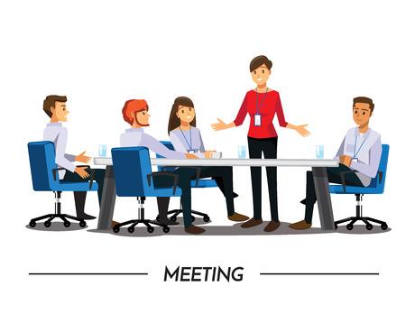 Illustration pour Group of Business People meeting,Vector illustration cartoon character - image libre de droit
