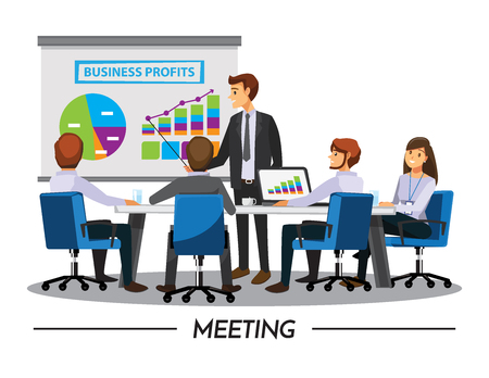 Illustration pour Business People Having Board Meeting,Vector illustration cartoon character - image libre de droit