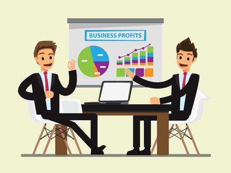Illustration pour Business People Having Board Meeting,.Business concept cartoon illustration - image libre de droit