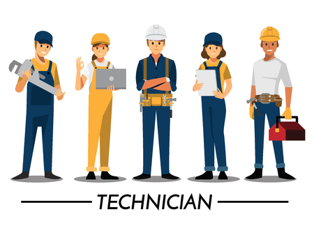 Photo pour Technician and builders and engineers and mechanics People teamwork ,Vector illustration cartoon character. - image libre de droit