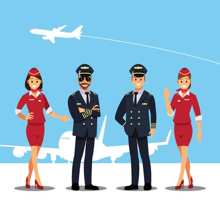 Illustration pour Flying attendants and Pilots character - image libre de droit