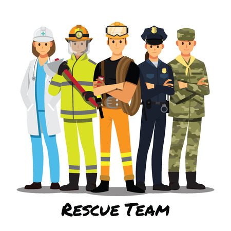 Illustration pour Rescue team cartoon character. - image libre de droit