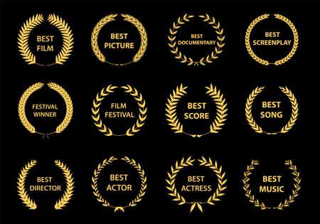 Illustration for Film awards wreaths set. Film awards logo. Best award vector, award logo, winner logo, film festival nominee.Vector illustration - Royalty Free Image