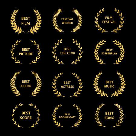Illustration pour Golden vector laurel wreaths on black background. Set of foliate award wreath for cinema festival.Vector illustration. - image libre de droit