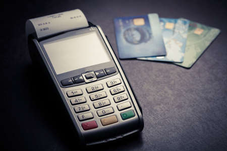 Photo for Color image of a POS and credit cards. - Royalty Free Image