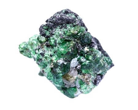 Photo pour Partially crystallized rough Tsavorite from Tanzania isolated on white background - image libre de droit