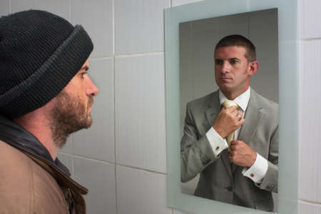 Homelss man looking in mirror and seeing dreams of the future