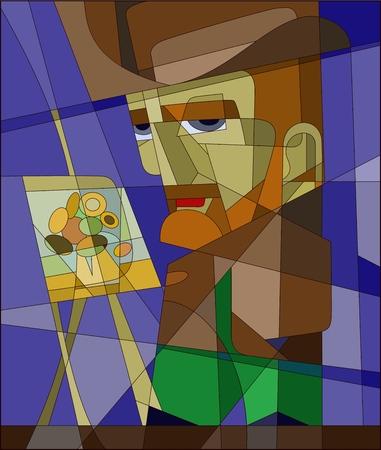 Illustration pour Stained glass Vincent Willem van Gogh. vector character - image libre de droit