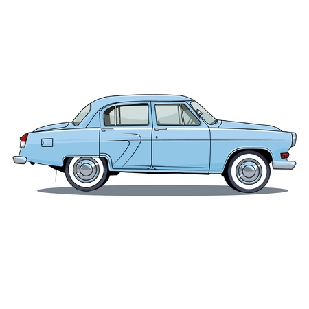 Illustration pour retro USSR car on white background, vector illustration. GAZ 21. volga - image libre de droit