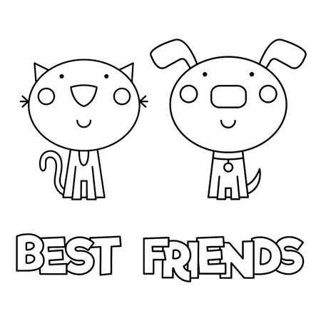 Illustration for Best friends, Coloring page, Vector illustration. - Royalty Free Image