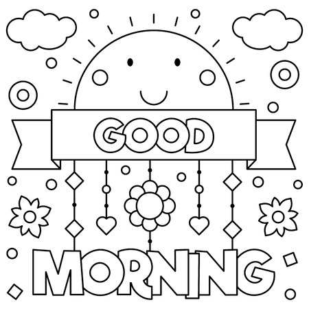 Illustration for Good morning. Coloring page. Vector illustration. - Royalty Free Image