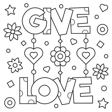 Illustration for Give love. Coloring page. Black and white vector illustration. - Royalty Free Image