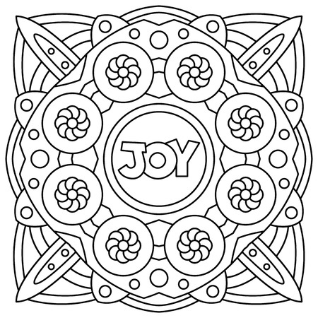 Illustration for Joy. Coloring page. Black and white vector illustration - Royalty Free Image