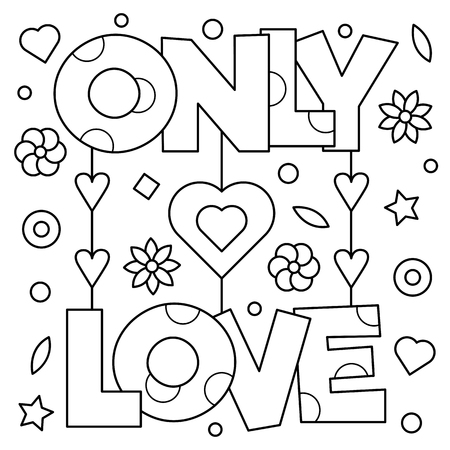 Illustration for Only love. Coloring page. Vector illustration. - Royalty Free Image