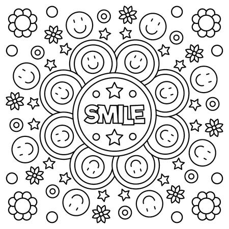 Illustration pour Smile. Coloring page. Vector illustration. - image libre de droit
