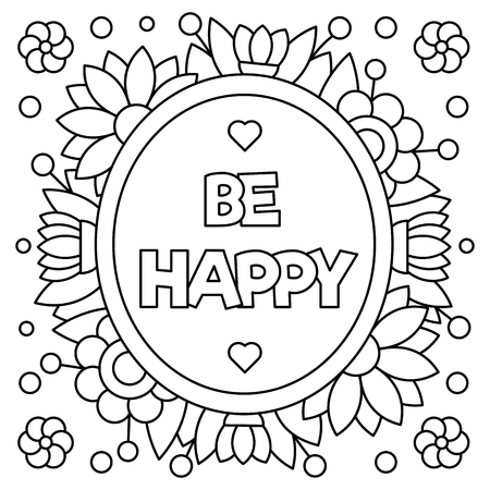 Illustration for Be happy. Coloring page. Vector illustration. - Royalty Free Image