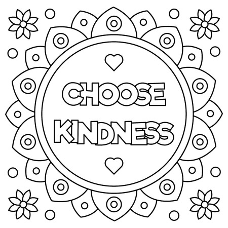 Illustration for Choose kindness. Coloring page. Vector illustration. - Royalty Free Image